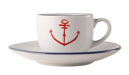 Batela Anchor Cup and Saucer Set of 6