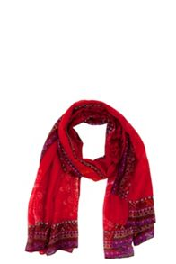 Scarf Rectangle Red Denim