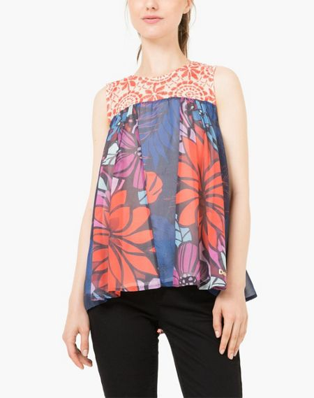Desigual Top Pleats Rep Blouse