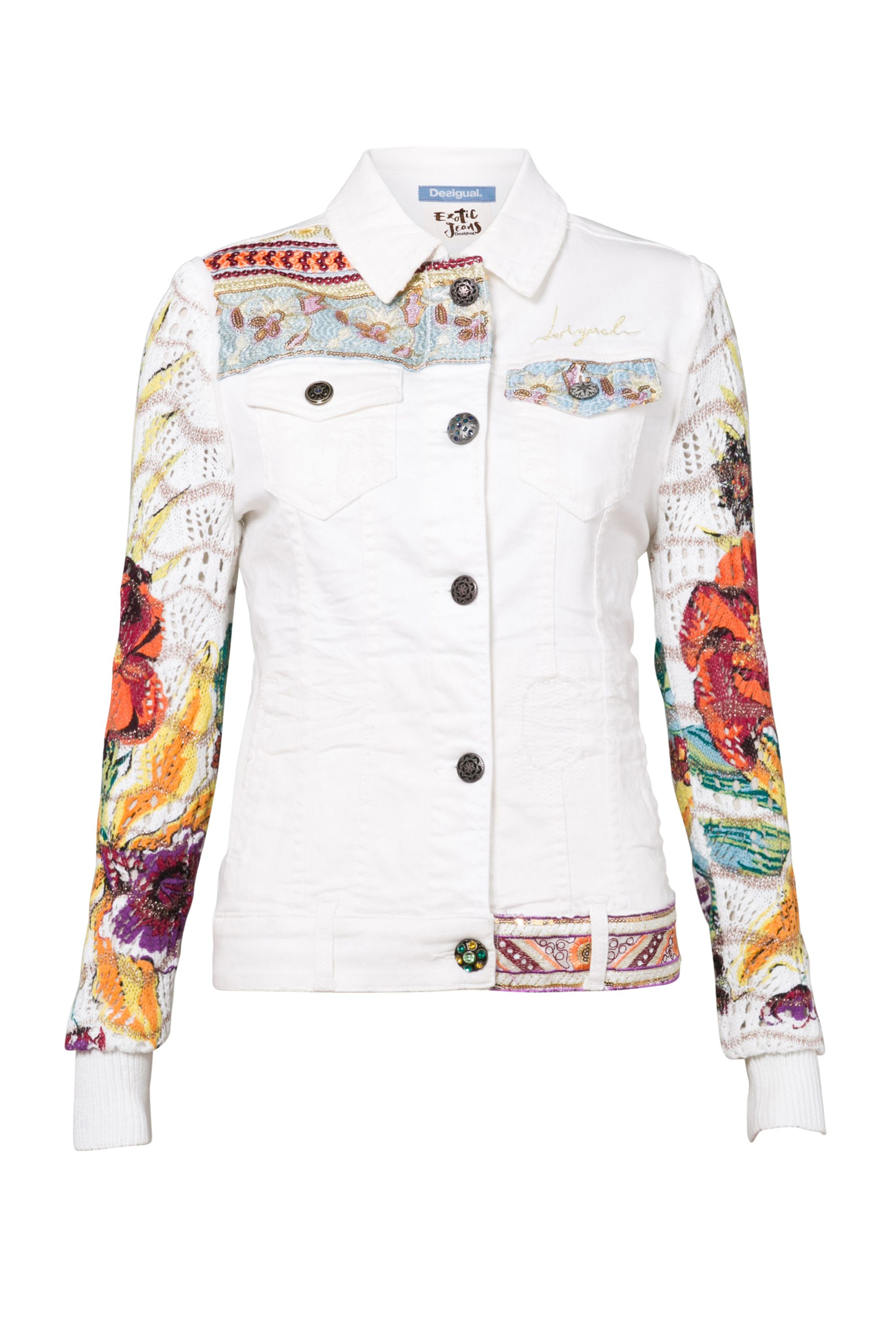 Desigual Jacket Exotic White, Blue