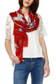 Desigual Scarves  Rectangle White Bird