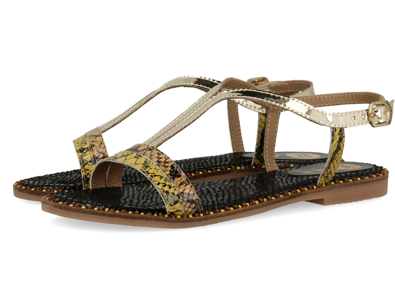 Gioseppo Gioseppo Gold-Multicolor Sandals, Multi-Coloured