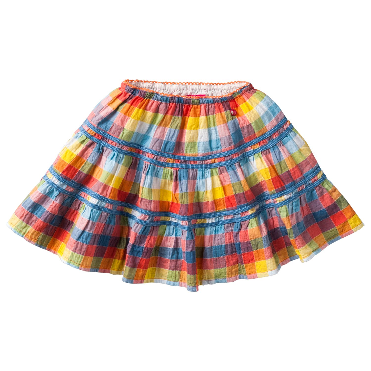 Girl`s seersucker check skirt