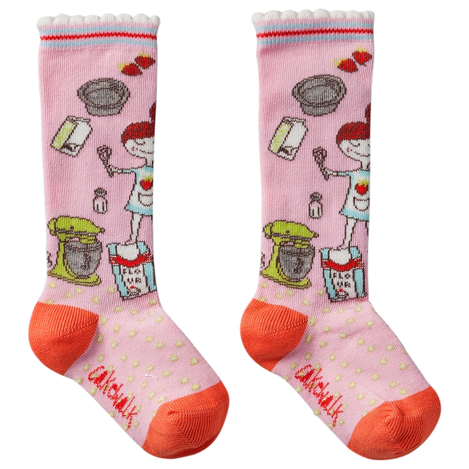 Girl`s striped and flower pattern socks