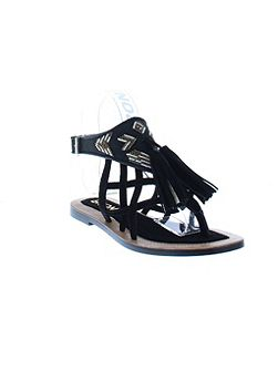 Strappy flat sandals with tassle