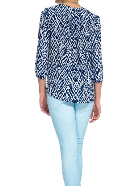 NYDJ Key Item Reptile Blouse In Marine Blue