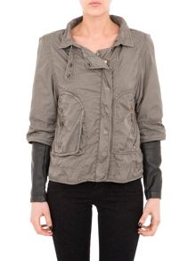 Mid length contrast jacket