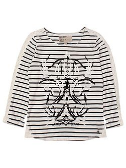 Garcia Girl Printed Top with Stripes