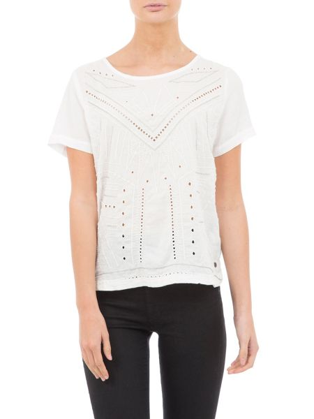 Garcia Cotton T-Shirt With Laser Cut Pattern