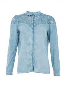 Garcia Stonewashed Shirt With Lace Panel