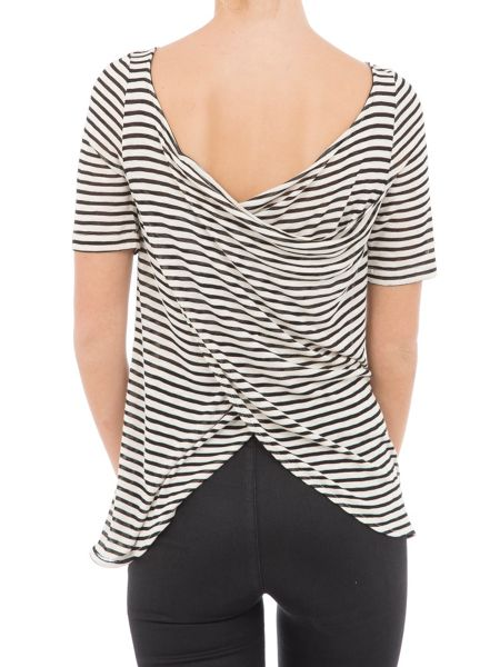 Garcia Striped Top With Layered Back