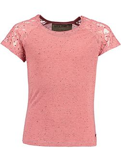Girls Studded T-Shirt With Lace Sleeves