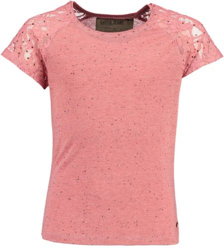 Garcia Girls Studded T-Shirt With Lace Sleeves