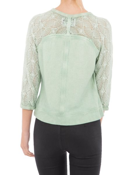 Garcia Cotton Jacket With Lace Sleeves