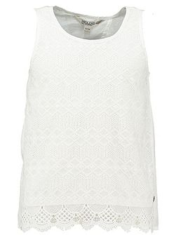 Girls Broderie Anglaise Cotton Vest