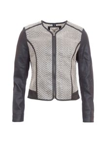 Garcia Zip Up Jacket With Faux Leather Sleeves