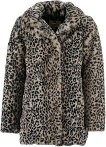 Garcia Girls Faux Fur Leopard Print Coat