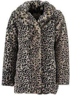 Girls Faux Fur Leopard Print Coat