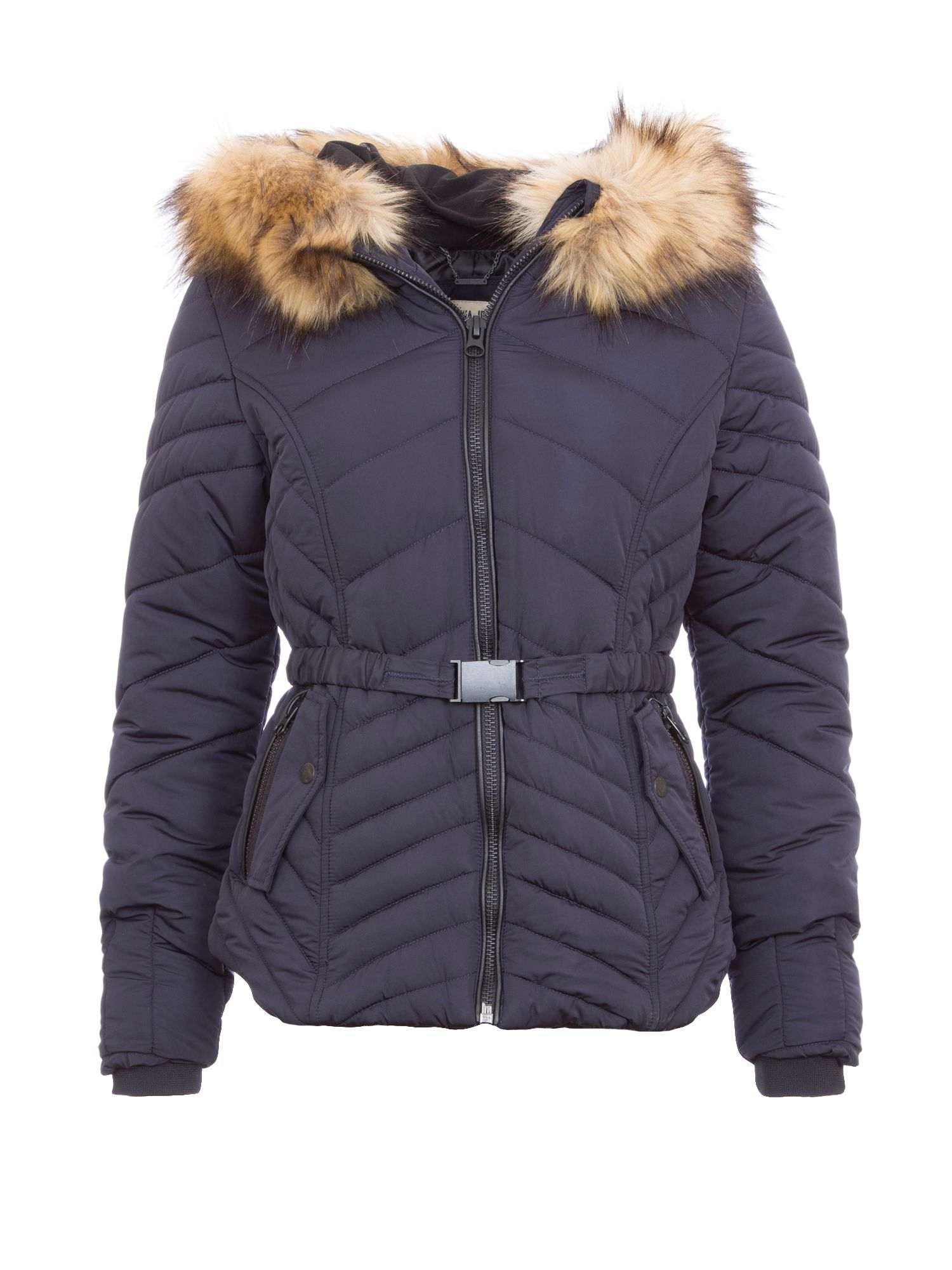 Garcia Garcia Quilted Jacket With Hood, Navy