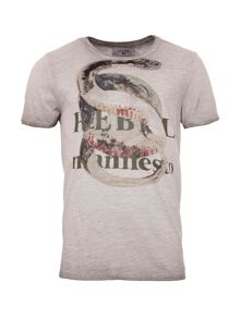 Garcia Snake Print Cotton T-Shirt