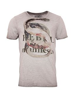 Snake Print Cotton T-Shirt