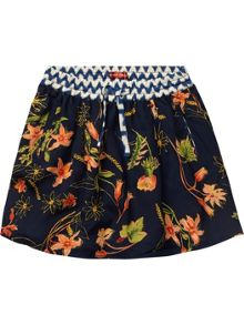 Girls allover printed silky feel skirt