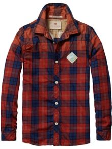 Boys Check Shirt With Applique On Back