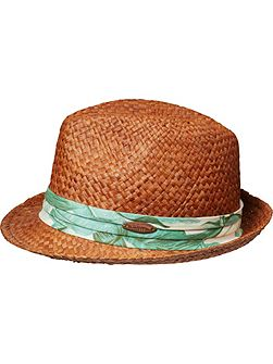 Boys Straw Hat With Fabric Detail
