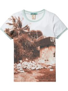 Boys Allover Printed Photo Ringer Tee