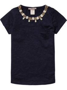 Scotch R'Belle Girls Tee With Embellished Neckline