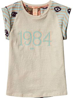 Girls Tee With Woven Backpanel