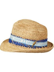Scotch Shrunk Straw Hat With Tape Detail
