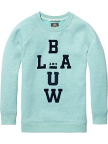 Scotch Shrunk Basic Crewneck AMS. Blauw
