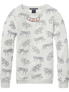 Scotch R'Belle Girls Leopard-Print Crew-Neck Sweatshirt