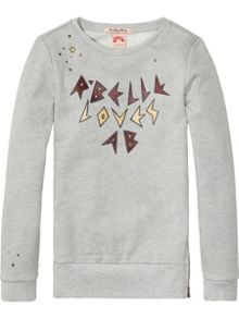 Scotch R'Belle Crewneck Sweat With Glitter Artworks