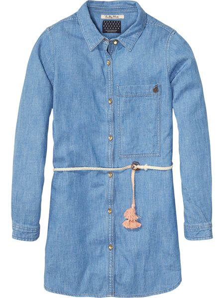Scotch R'Belle Girls Oversized Denim Shirt Dress
