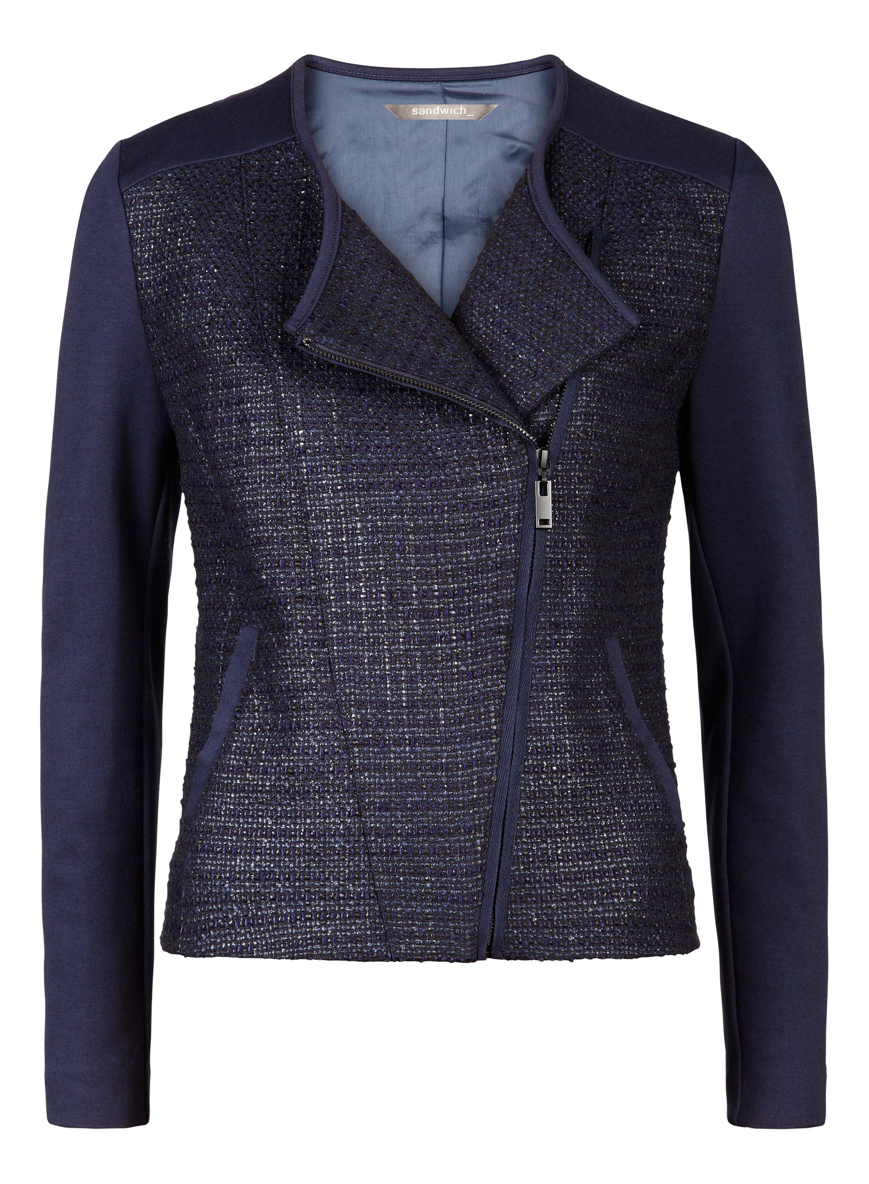 Tweed and jersey jacket