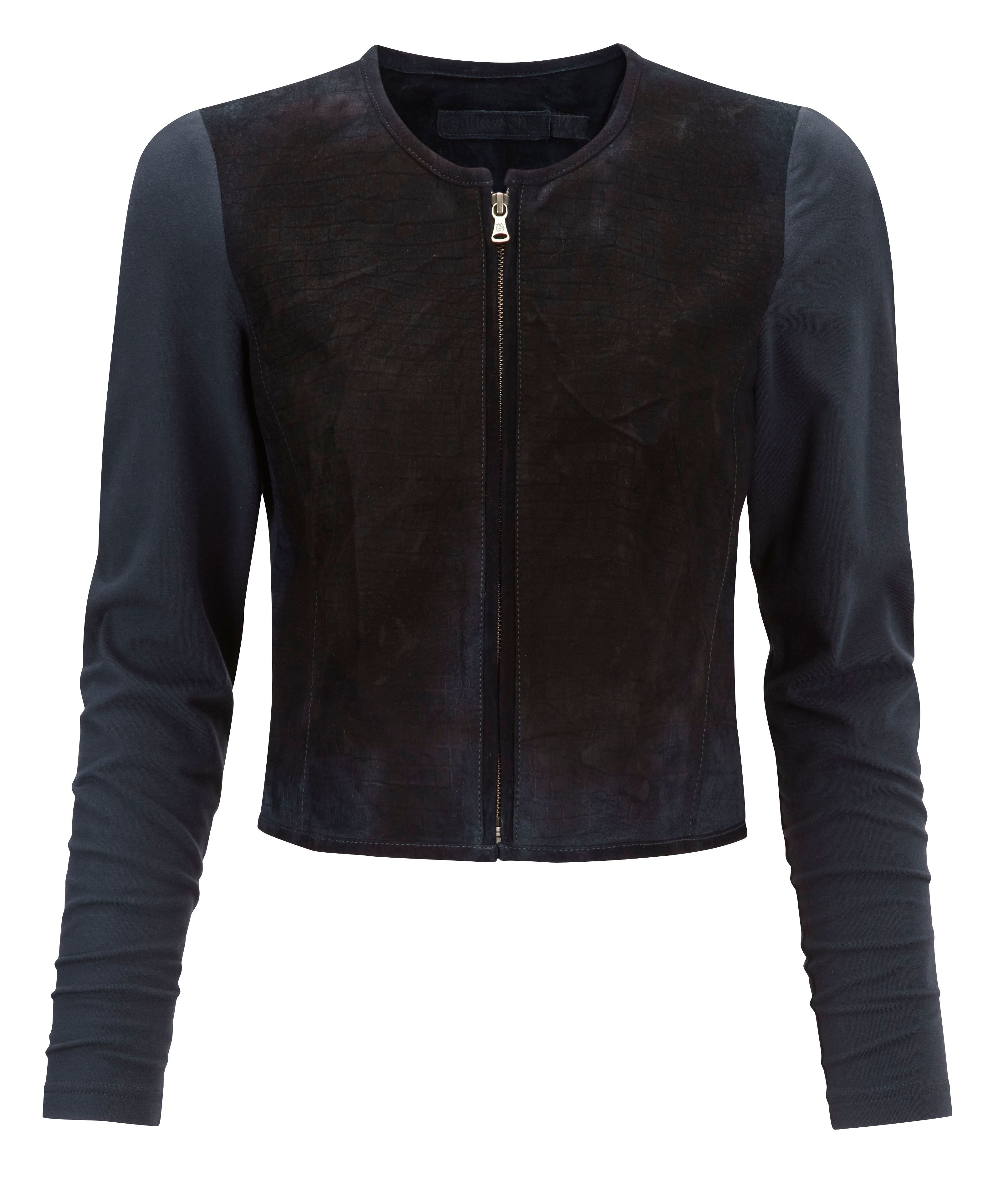 Leather and jersey jacket