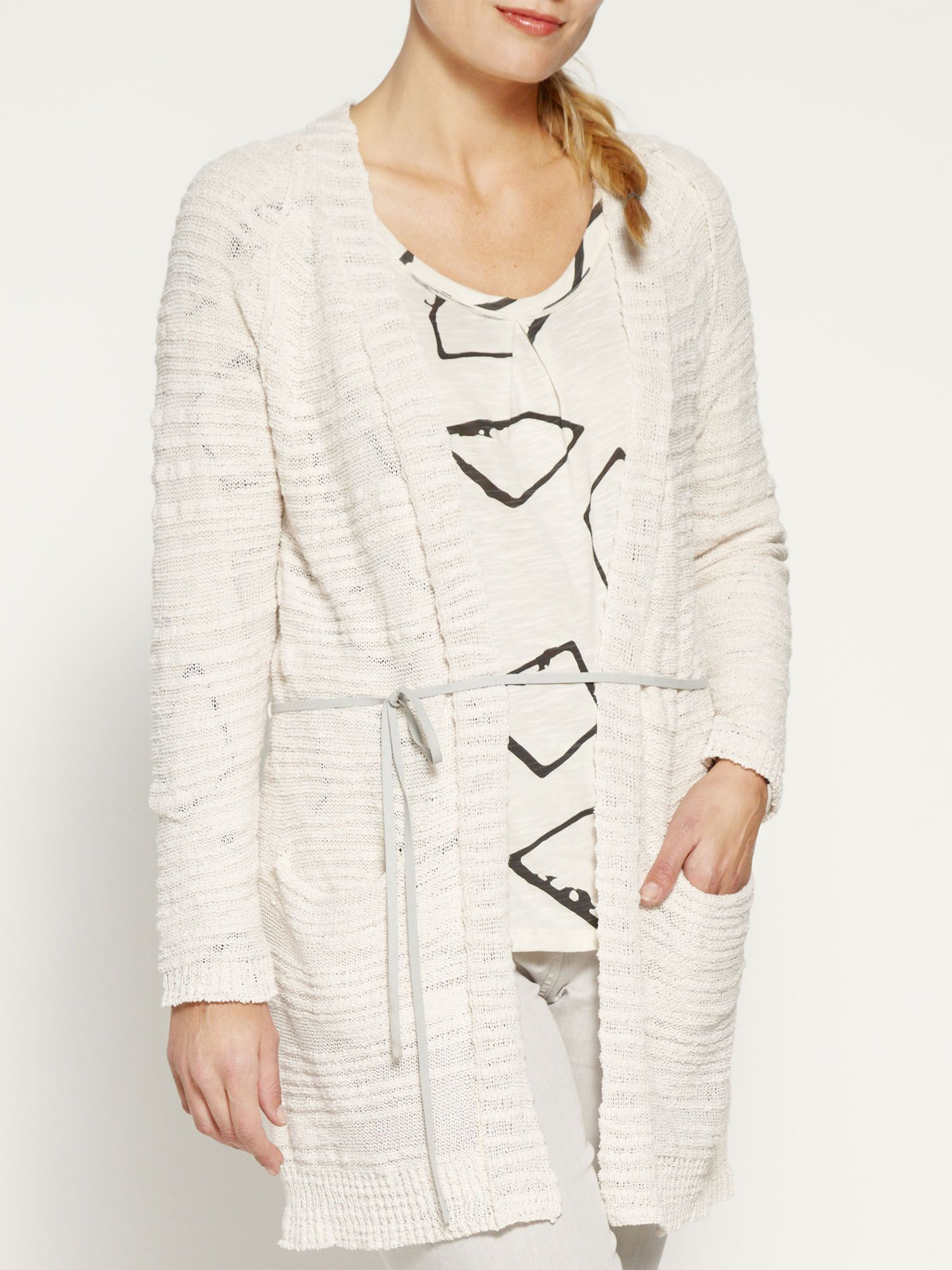 Long cotton slub cardigan