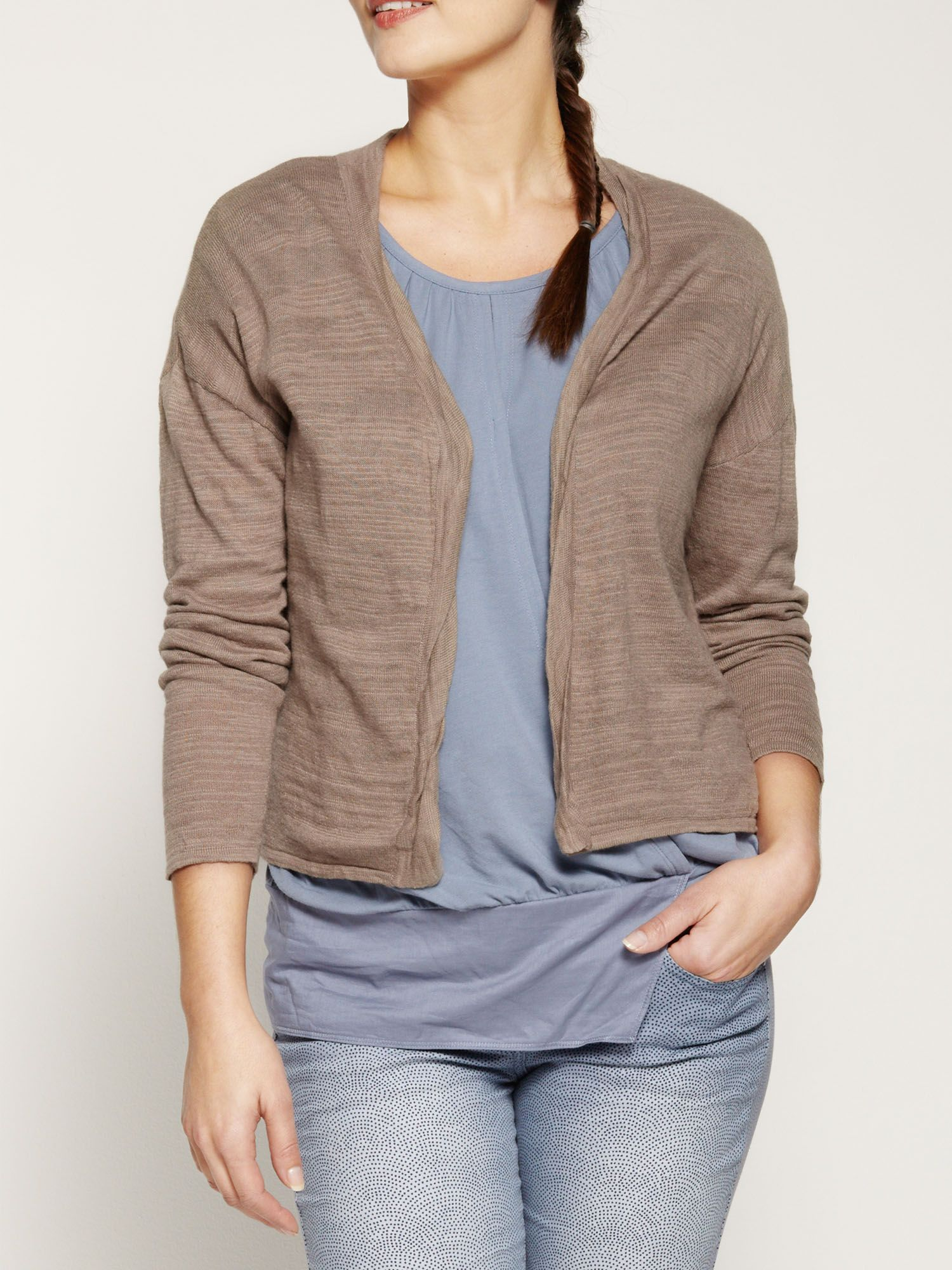 Crinkled cotton short cardigan