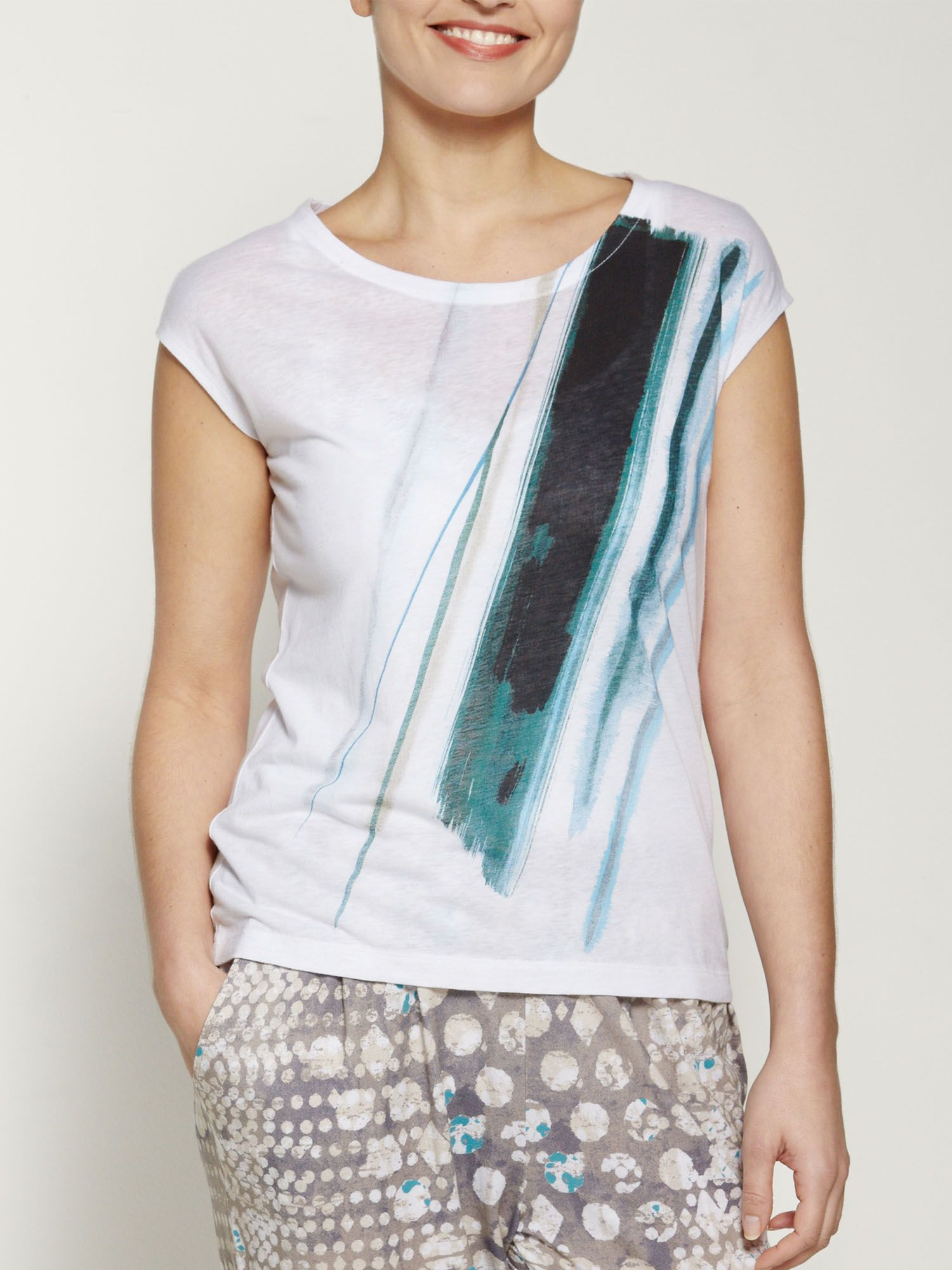 Linen cotton mix printed t-shirt