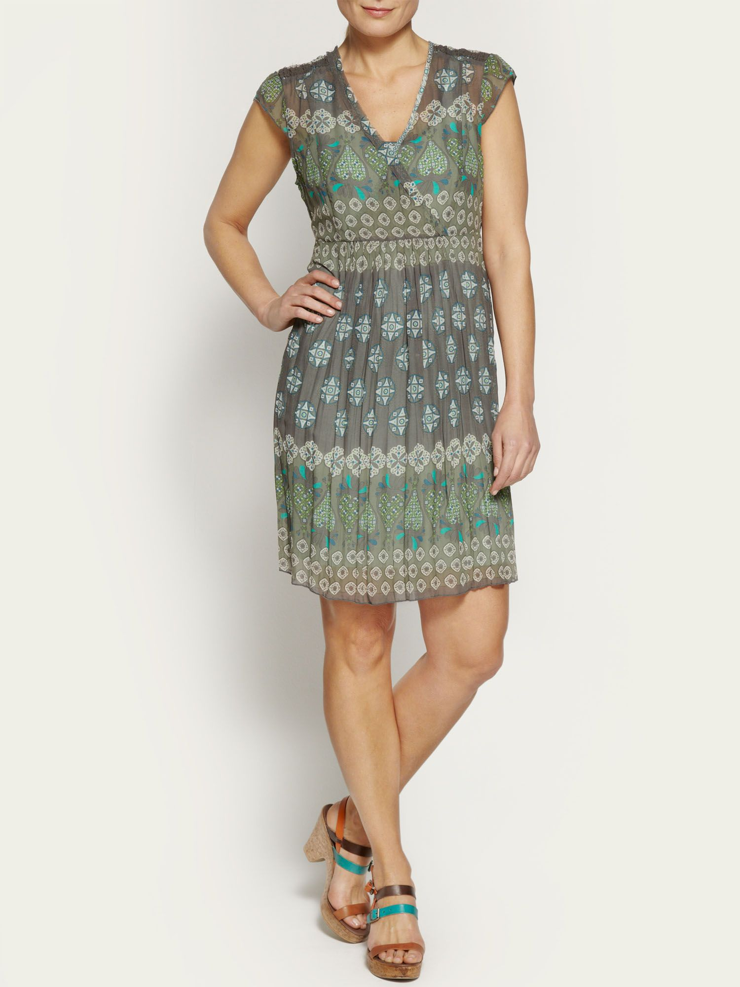 Crinkled printed dress
