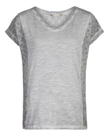 Cotton and lace T-shirt