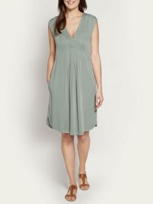 Sleeveless twill dress