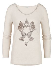 Long sleeve jersey T-shirt with studs
