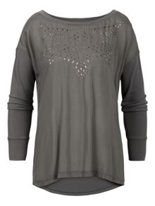 Long sleeve top with studs