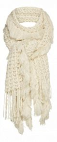 Scarf with fringes and tassels