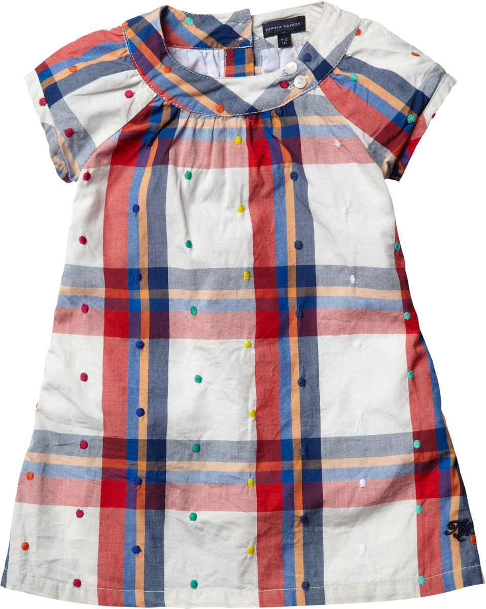 Baby girl`s dot check dress