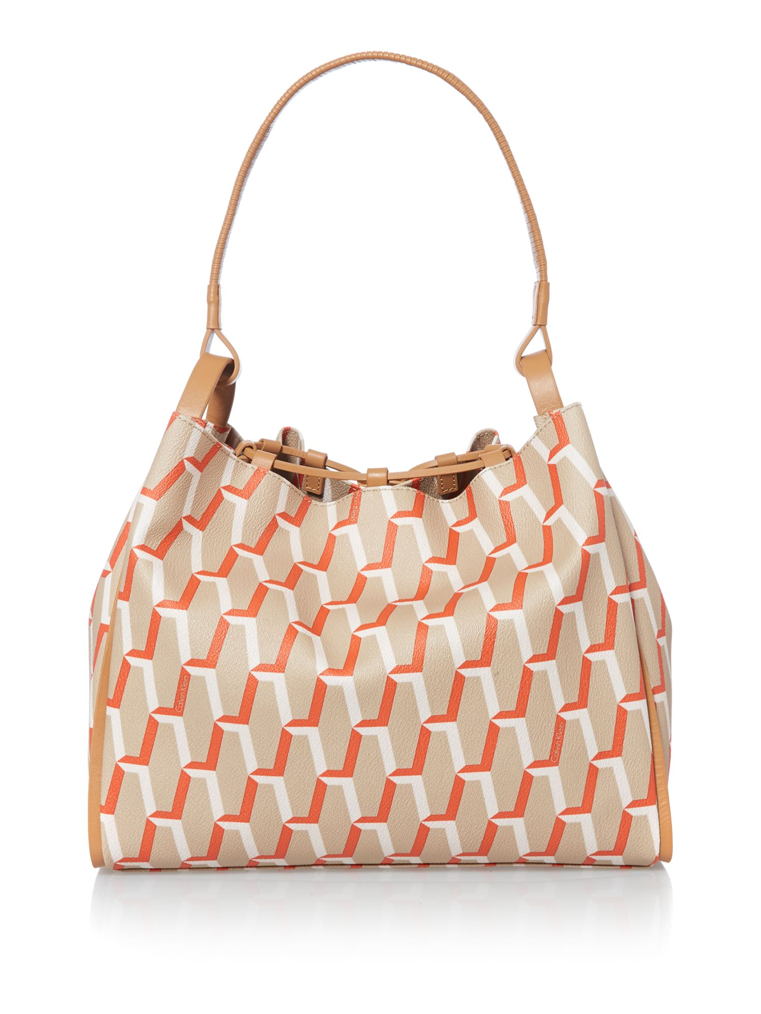 Print orange hobo bag