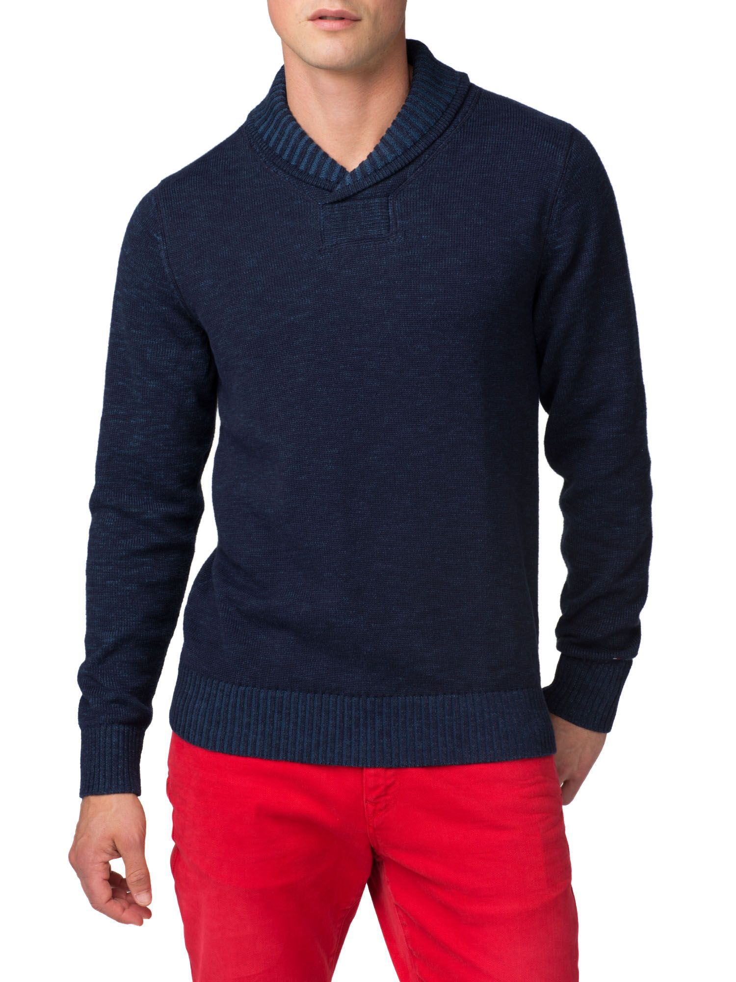 Plaited shawl neck jumper